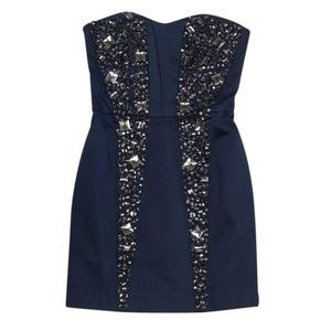 French Connection strapless Beaded Navy Dress